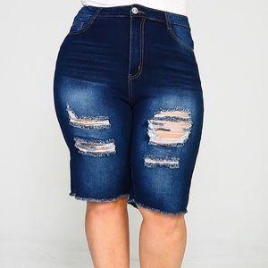 Pants - Dark Blue Jean Bermuda Shorts
